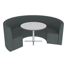 Shapes Series II Structured Vinyl Soft Seating - Curved Café - Navy Seats w/ Crisp Linen Table