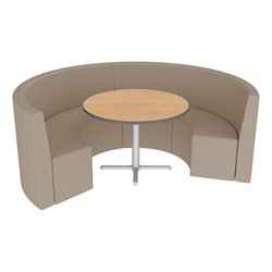 Shapes Series II Structured Vinyl Soft Seating - Curved Café - Taupe Seats w/ Limber Maple Table