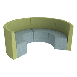 Shapes Series II Structured Vinyl Soft Seating - Curved Huddle - Blue & Green