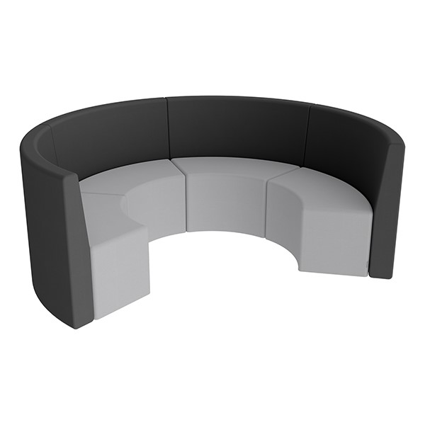 Shapes Series II Structured Vinyl Soft Seating - Curved Huddle - Black & Light Gray