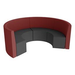 Shapes Series II Structured Vinyl Soft Seating - Curved Huddle - Burgundy & Black