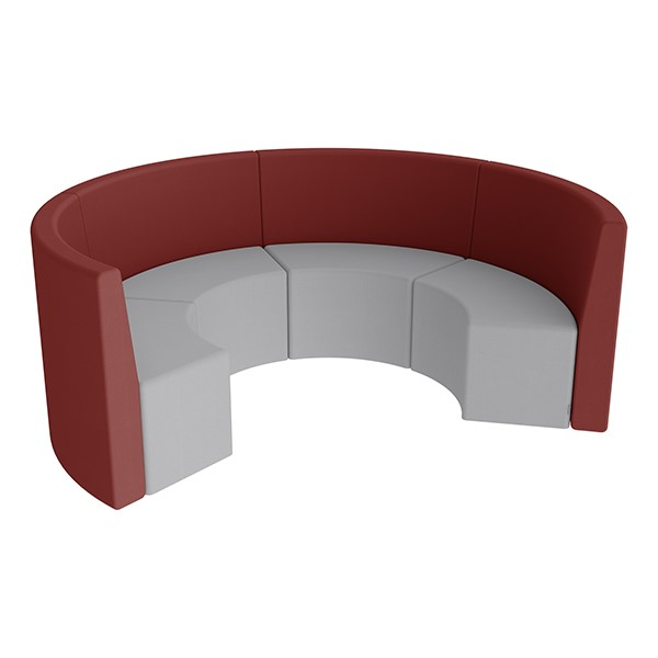 Shapes Series II Structured Vinyl Soft Seating - Curved Huddle - Burgundy & Light Gray