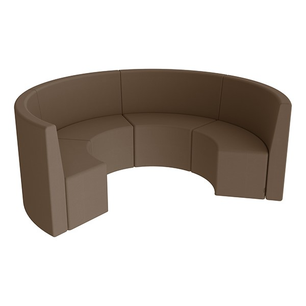 Shapes Series II Structured Vinyl Soft Seating - Curved Huddle - Chocolate