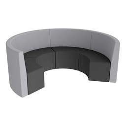 Shapes Series II Structured Vinyl Soft Seating - Curved Huddle - Light Gray & Black