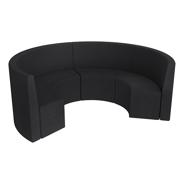 Shapes Series II Structured Vinyl Soft Seating - Curved Huddle - Black