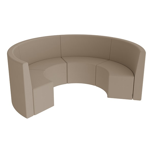 Shapes Series II Structured Vinyl Soft Seating - Curved Huddle - Taupe