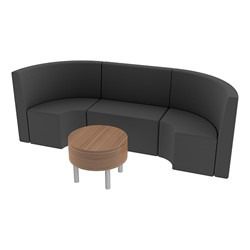 Shapes Series II Structured Vinyl Soft Seating - Single U Shape w/ Table - Black Seats w/ Oak Table