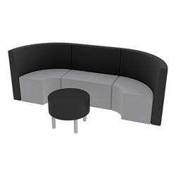 Shapes Series II Structured Vinyl Soft Seating - Single U Shape w/ Table - Light Gray & Black Seats w/ Black Table
