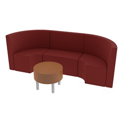 Shapes Series II Structured Vinyl Soft Seating - Single U Shape w/ Table - Burgundy Seats w/ Cherry Table