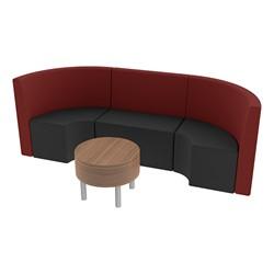 Shapes Series II Structured Vinyl Soft Seating - Single U Shape w/ Table - Burgundy & Black Seats w/ Oak Table