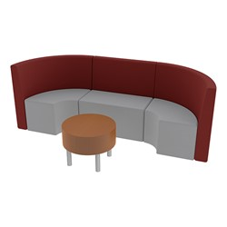 Shapes Series II Structured Vinyl Soft Seating - Single U Shape w/ Table - Burgundy & Light Gray Seats w/ Cherry Table