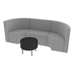 Shapes Series II Structured Vinyl Soft Seating - Single U Shape w/ Table - Light Gray Seats w/ Black Table