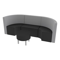 Shapes Series II Structured Vinyl Soft Seating - Single U Shape w/ Table - Light Gray & Black Seats w/ Black Table