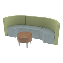 Shapes Series II Structured Vinyl Soft Seating - Single U Shape w/ Table - Green & Blue Seats w/ Oak Table