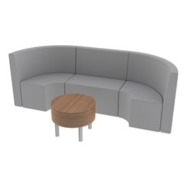 Shapes Series II Structured Vinyl Soft Seating - Single U Shape w/ Table - Light Gray Seats w/ Oak Table
