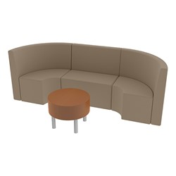 Shapes Series II Structured Vinyl Soft Seating - Single U Shape w/ Table - Taupe Seats w/ Cherry Table