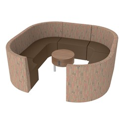 Shapes Series II Structured Designer Soft Seating - Large Huddle w/ Table - Dark Latte/Cherry Seats w/ Oak Table