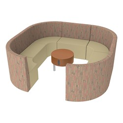 Shapes Series II Structured Designer Soft Seating - Large Huddle w/ Table - Dark Latte/Sand Seats w/ Cherry Table