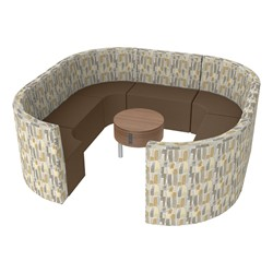 Shapes Series II Structured Designer Soft Seating - Large Huddle w/ Table - Desert/Chocolate Seats w/ Oak Table