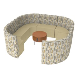 Shapes Series II Structured Designer Soft Seating - Large Huddle w/ Table - Desert/Sand Seats w/ Cherry Table