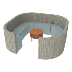 Shapes Series II Structured Designer Soft Seating - Large Huddle w/ Table - Pecan/Blue Seats w/ Cherry Table