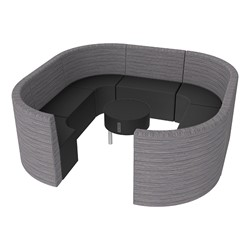Shapes Series II Structured Designer Soft Seating - Large Huddle w/ Table - Pepper/Black Seats w/ Black Table