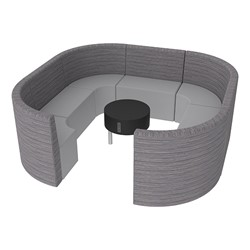 Shapes Series II Structured Designer Soft Seating - Large Huddle w/ Table - Pepper/Light Gray Seats w/ Black Table