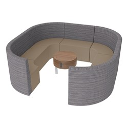 Shapes Series II Structured Designer Soft Seating - Large Huddle w/ Table - Pepper/Taupe Seats w/ Oak Table