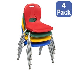 """Pack of Four Assorted Colors Structure Series Preschool Chair (14"""" Seat Height) - Stacked"""