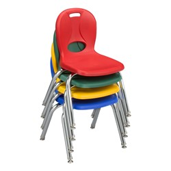 "Trapezoid Adjustable-Height Preschool Table & Four Structure Chairs - (30"" W x 60"" L) - 12"" Seat Height - Stacked chairs"