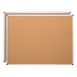Natural Cork Board w/ Aluminum Frame (3\' W x 2\' H) - Double Pack