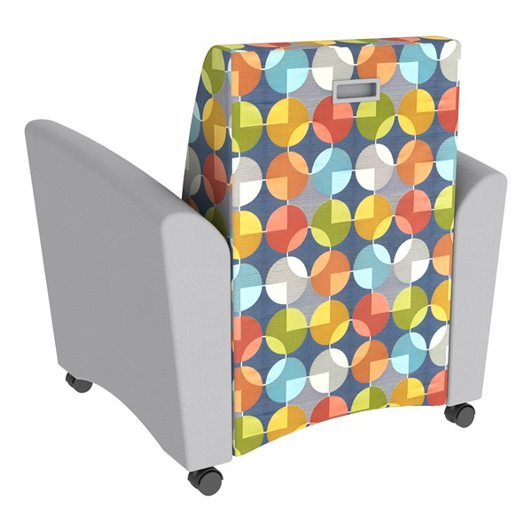Shapes Series II Common Area Chair w/ Tablet Arm - Light Gray w/ Compass Back