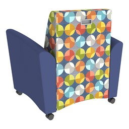 Shapes Series II Common Area Chair w/ Tablet Arm - Navy w/ Compass Back
