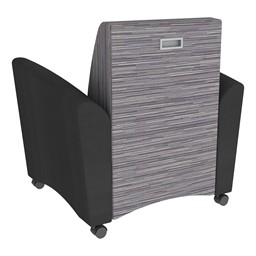 Shapes Series II Common Area Chair w/ Tablet Arm - Black w/ Pepper Fabric Back