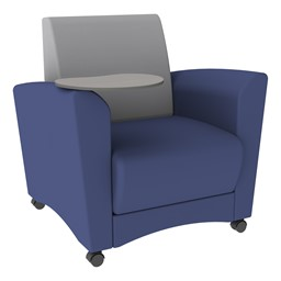 Shapes Series II Common Area Chair w/ Tablet Arm - Navy w/ Light Gray Back Smooth Grain Vinyl & Cosmic Strandz Tablet