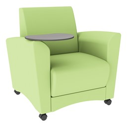 Shapes Series II Common Area Chair w/ Tablet Arm - Green Apple Smooth Grain Vinyl & Cosmic Strandz Tablet