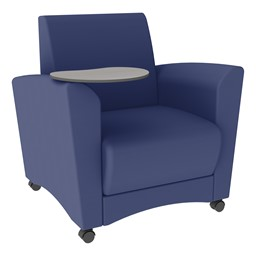 Shapes Series II Common Area Chair w/ Tablet Arm - Navy Smooth Grain Vinyl & Cosmic StrandzTablet
