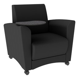 Shapes Series II Common Area Chair w/ Tablet Arm - Black Smooth Grain Vinyl & Graphite Tablet