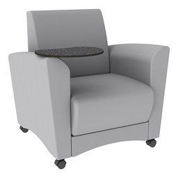 Shapes Series II Common Area Chair w/ Tablet Arm - Light Gray Smooth Grain Vinyl & Graphite Tablet