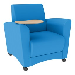 Shapes Series II Common Area Chair w/ Tablet Arm - Brilliant Blue Smooth Grain Vinyl & Maple Tablet