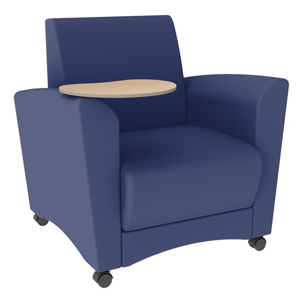 Shapes Series II Common Area Chair w/ Tablet Arm - Navy w/ Maple Tablet Arm