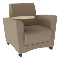 Shapes Series II Common Area Chair w/ Tablet Arm - Taupe Smooth Grain Vinyl & Maple Tablet