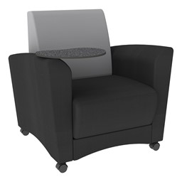 Shapes Series II Common Area Chair w/ Tablet Arm - Black w/ Light Gray Back Smooth Grain Vinyl & Graphite Tablet
