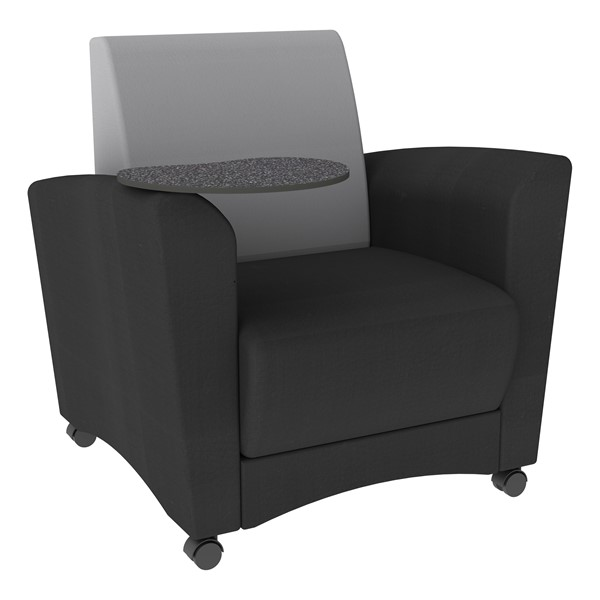 Shapes Series II Common Area Chair w/ Tablet Arm - Black w/ Gray Back & Graphite Tablet