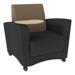 Shapes Series II Common Area Chair w/ Tablet Arm - Black w/ Taupe Back Smooth Grain Vinyl & Maple Tablet