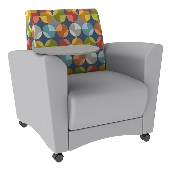 Shapes Series II Common Area Chair w/ Tablet Arm - Light Gray w/ Compass Back & Gray Tablet