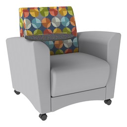 Shapes Series II Common Area Chair w/ Tablet Arm - Light Gray w/ Compass Fabric Back & Graphite Tablet