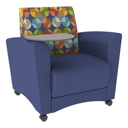 Shapes Series II Common Area Chair w/ Tablet Arm - Navy w/ Compass Fabric Back & Cosmic Strandz Tablet