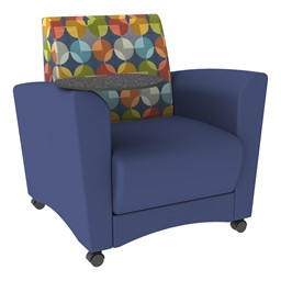 Shapes Series II Common Area Chair w/ Tablet Arm - Navy w/ Compass Back & Graphite Tablet
