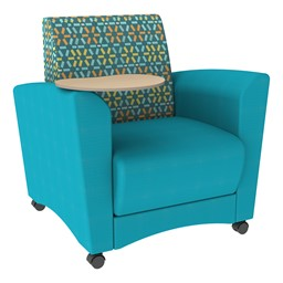 Shapes Series II Common Area Chair w/ Tablet Arm - Teal w/ Atomic Fabric Back & Maple Tablet